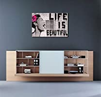 Wieco Art Banksy Life Is Beautiful Modern Gallery Wrapped Grey