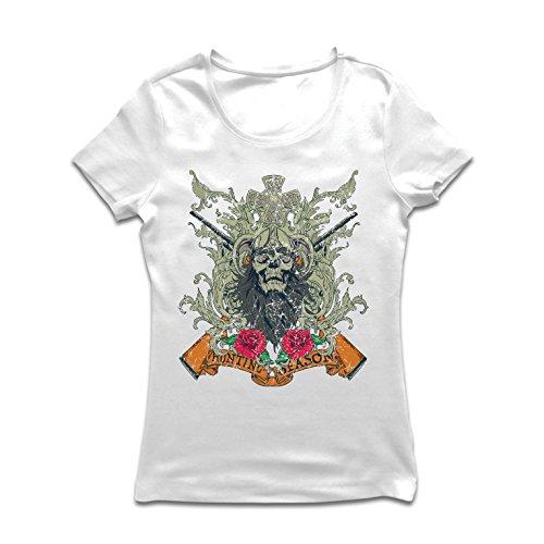 lepni.me Women's T-Shirt Hunting Season Apparel - Deer or Duck Hunt, Hunter Clothing (XX-Large White Multi Color) (Online Werbegeschenke)