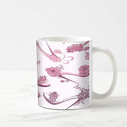 (Ahawoso Coffee Tea Mug 11 Ounces Retro Pink Heel Pattern Shoes High Dress Girl Drawing Shopping Elegance 11Oz Ceramic Tea Cups Gift Great Boss Coworker Friend Present)