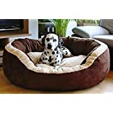 Hiputee Luxurious & Durable Polyester Filled Soft Dual Colour Dog/Cat Bed (Small, Brown)