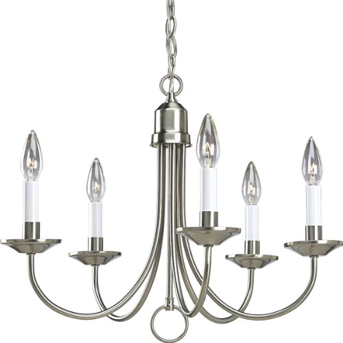 Progress Lighting P4008-09 5-Light Chandelier, Brushed Nickel (Shaker Single Style)