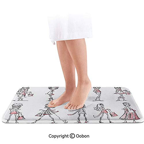 Girls Bath Mat,Cartoon Girls with High Heel Shoes Glamour Fashion Urban Life Catwalk Style Picture Decorative,Plush Bathroom Decor Mat with Non Slip Backing,36 X 24 Inches,Pink White]()