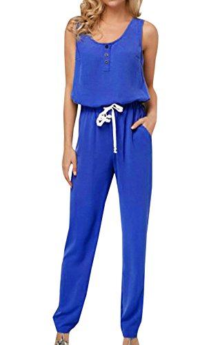 Combinaisons Casual Bleu t avec de Rond Playsuits Col Plage Manche sans Pantalons Fashion Jumpsuit Jeune Cordon Longue Femmes dPwRxqgd