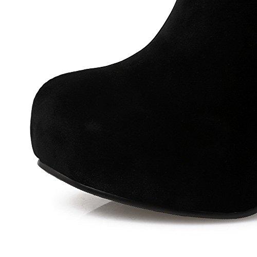 Hæler Kvinners Høye Farge Tå Runde Støvler Assortert Glidelås Allhqfashion Svart Imiterte Semsket Lukket AOpWdqBtI