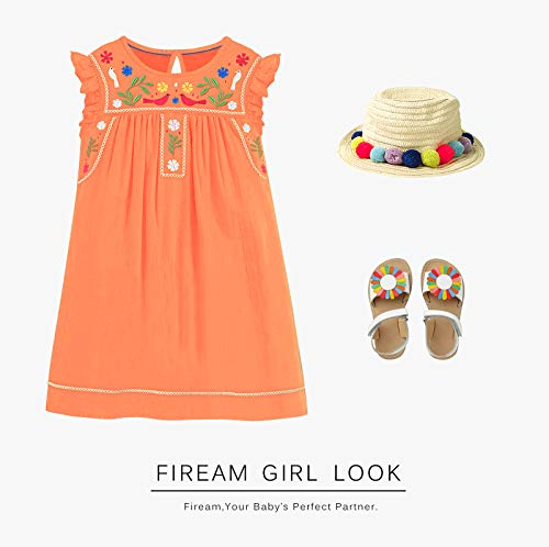 Fiream Toddler Girls Dresses Mexican Floral Casual Cotton Dress for Girls Kids