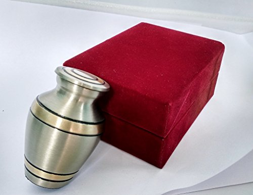 - Celebration of Life Mini Cremation Keepsake Urn For Human Ashes - Qnty 1 - Beautiful and Timeless Find Comfort Everytime You Look At This Urn - With Velvet Case (Brass Antique Finish)