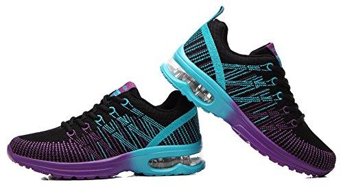 Ausom Donna Fitness Cuscino Daria Allenamento Trail Scarpe Da Corsa Moda Sport Palestra Jogging Walking Sneakers Nere
