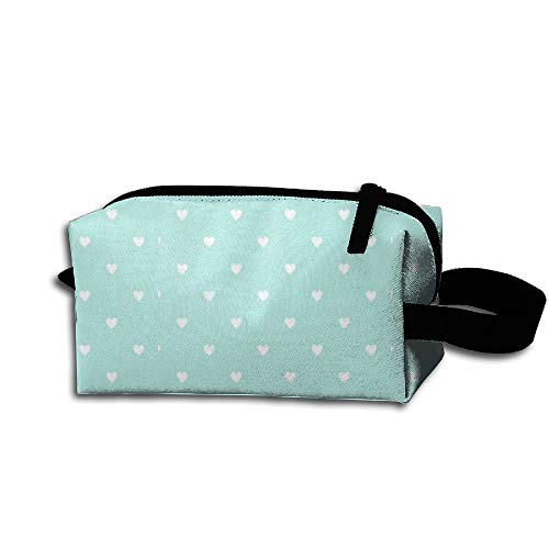 HAIDILUN White Heat Love in Blue Portable Multifunction Cosmetic Bag Handbag Organizer with Zipper for Travel