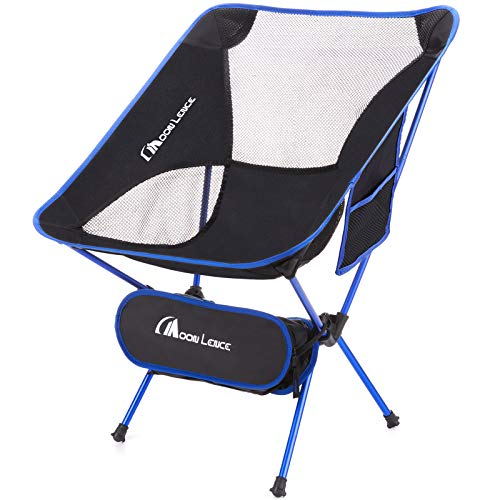 MOON LENCE Outdoor Ultralight Portable Folding Chairs with Carry Bag Heavy Duty 242lbs Capacity Camping Folding Chairs Beach Chairs Black Moon Fishing Backpack