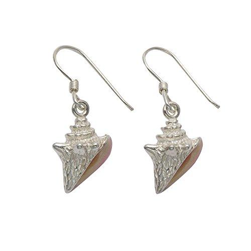 Sterling Silver Conch Shell Wire Earrings w/Pink Enamel