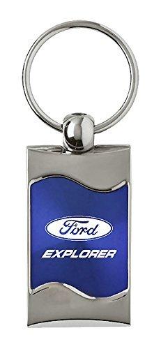 INC Ford Explorer Rectangular Blue Car Key Chain Ring Fob Au-Tomotive Gold
