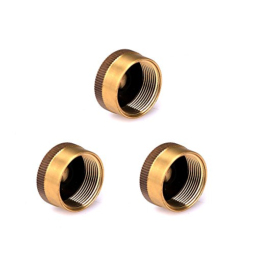 aokur Pack of 3 Solid Brass Refill 1 LB Propane Bottle Cap Gas Tank Cylinder Sealed Cap