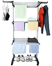 TUCENOPO Clothes Drying Rack, Multifunctional Large 3-Tier Folding Laundry Dryer Adjustable Shelf Rack, Collapsible Garment Rack with Universal Rolling Wheels and Wings for Indoor Outdoor