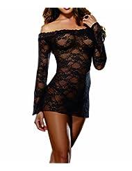 Blidece Women's Off Shoulder Plus-Size Sleepwear G-strings Lingerie Sets Black XX-large