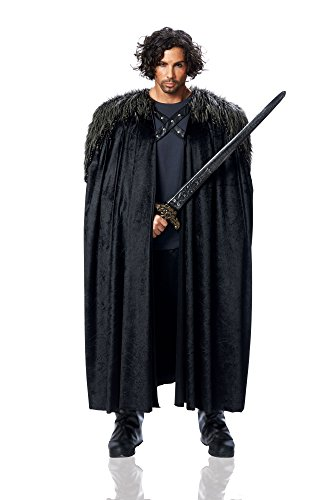 Black Faux Fur Adult Costumes Cape (Costume Culture Men's Big Medieval Cape Adult Deluxe, Black, Standard)