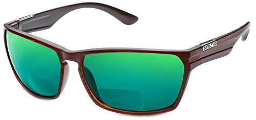 Suncloud Cutout Polarized Bi-Focal Reading Sunglasses in Burnished-Brown w/Green Mirror Lens +2.00 by Suncloud