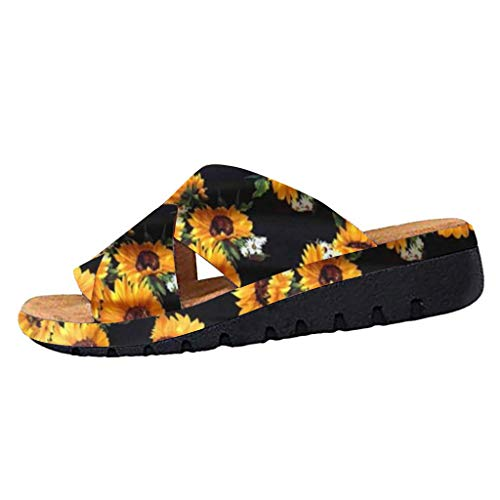 Slide Sandals for Womens New Sunflower Criss Cross Open Toe Wedges Platform Summer Beach Slip-on Slippers (Black, 9 M US - Foot Length:265mm)