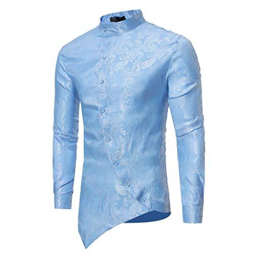 ANJUNIE Irraguler Men Slim Fit Short Sleeve T-Shirt Printed Muscle Tee Casual Top(3-Blue,S) (Brocade Poly)