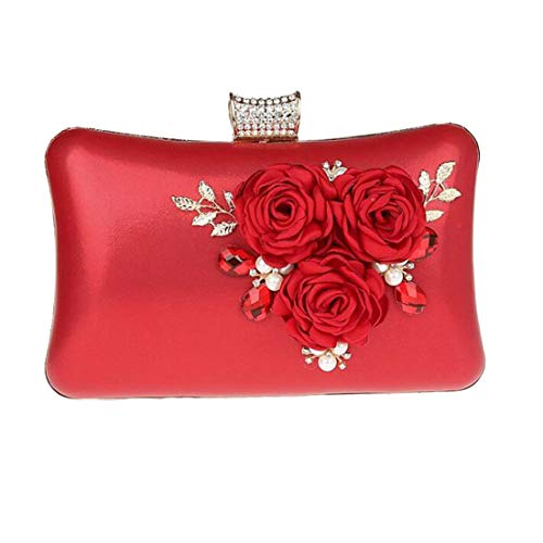 EPLAZA Women Large Capacity Flora Evening Clutch Bags Wedding Party Purse Handbags Wallet (red) ()