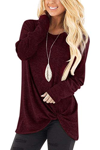 Women's Tunic Shirts Long Sleeve Twist Knot Tops Basic Fall Blouses Wine Red XXL (Wine Sweater)