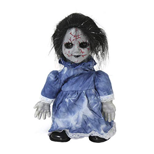 Largemouth Animated Zombie Doll Halloween Decoration, Blue