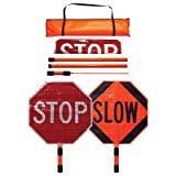 stop and slow sign with handle - Dicke Roll-Up Stop/Slow Paddle - 24in. Superbright Reflective Sign, 5ft. ABS Handle, Plastic, Model# SB243-A
