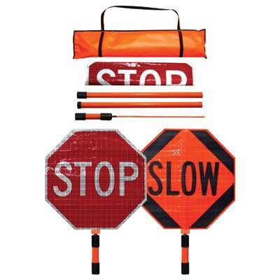 Dicke Roll-Up Stop/Slow Paddle - 24in. Superbright Reflective Sign, 5ft. ABS Handle, Plastic, Model# SB243-A