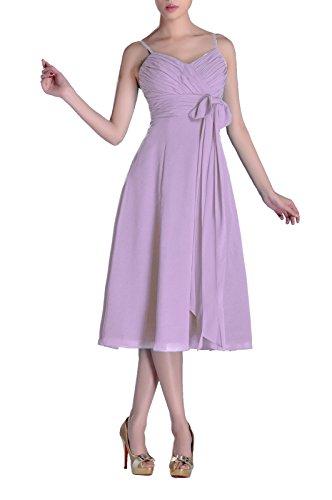 After Six Bodice Bridesmaid Dress - Homecoming Cocktail Junior A-line V-neck Chiffon Modest Bridesmaid Dress Tea Length, Color Lilac ,6