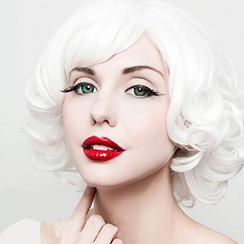 Short White Curly Wig (STfantasy Curly Wigs with Bangs for Mrs Claus Cosplay Costume Short Layered Synthetic Hair Lolita)