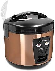 Navaris 1,2 liter rijstkoker - 500 Watt 220V - opwarmfunctie - met lepelstoominzet meetbeker - voor maximaal 6 personen - in metallisch koper