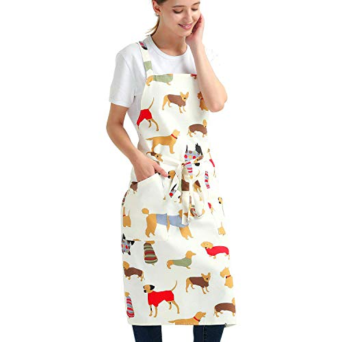 Aiden Brothers' Soft Vivid Cotton Apron Cross Back + Quick Release/Fasten Buckle for Dog Lover Artist Kitchen Grilling Cooking, Adjustable to XXL,27