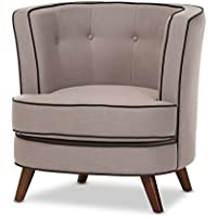 Baxton Studio Bwire Beige Fabric Upholstered Walnut Wood Button-Tufted Accent Chair