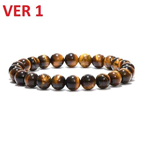 LQT Ltd Noter Minimalist Natural Stone Beads Buddha Bracelet Brown Tiger Eyes Yoga Meditation Braclet for Men Women Hand Jewelry Homme -