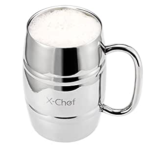 Beer Mug, X-Chef Stainless Steel 14 OZ Double Wall Air Insulated Beer Mug, Coffee/Tea Cup Polishshed Steel Easy Clean