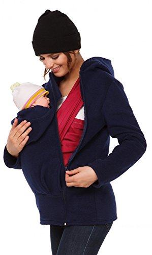 (Happy Mama. Womens Maternity Fleece Hoodie Duo Top Carrier Baby Holder. 031p (Navy, US 8, L))
