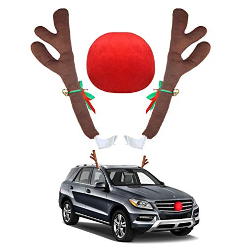 (UBOOMS 1 Set Car Antlers Christmas Reindeer Antlers with Plush Reindeer Nose Car Costume Decoration Kit for Car Grille)