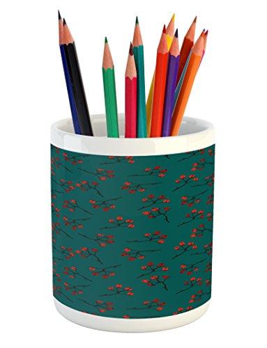 Ambesonne Teal Pencil Pen Holder, Whimsical Modern Style Ber