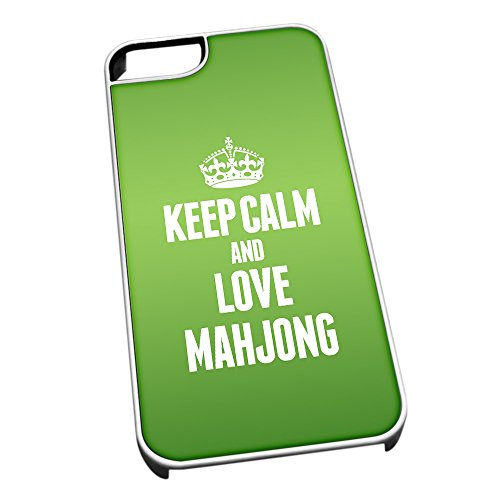 Bianco cover per iPhone 5/5S 1826 verde Keep Calm and Love Mahjong