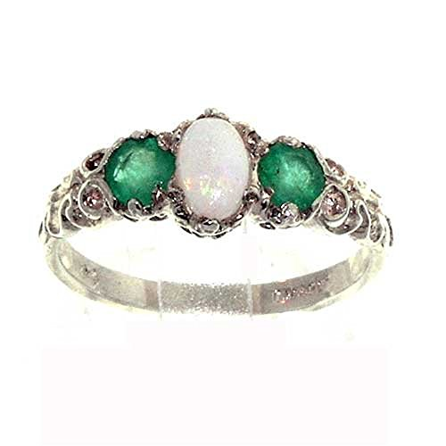 925 Sterling Silver Real Genuine Opal and Emerald Womens Anniversary Ring - Size 8