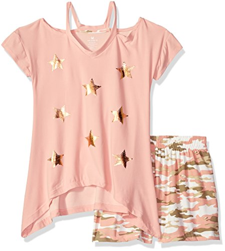One Step Up Toddler Girls' Soft Knit Top and Short Set, Dusty Rose/Camo, 2T Pink Camo Star Step