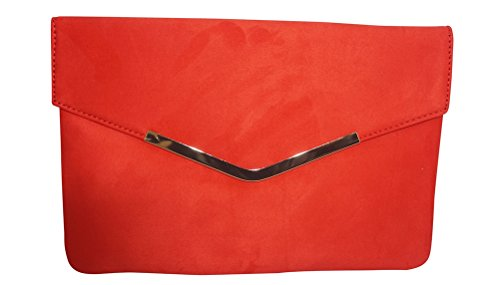 Chicastic Suede Envelope Clutch Purse - Red