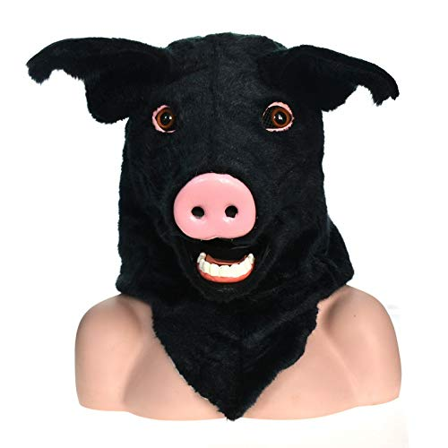KX-QIN Factory Direct Selling Furry Handmade Customized Parade Moving Mouth Mask Black Pig Simulation Animal Mask Deluxe Novelty Halloween Costume Party Latex Animal Head Mask for Adults and Kids by KX-QIN