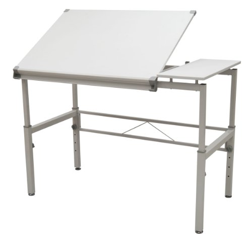 STUDIO DESIGNS Graphix II Workstation, 53.75'W x 31.25'D x 27' - 38.75'H White/Gray 10210