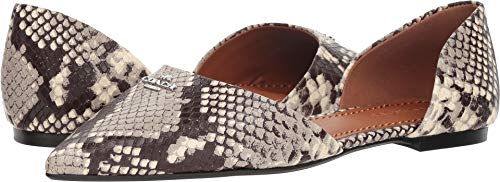 Coach Women's Printed Exotic Pointy Toe Flat Natural 8.5 M US