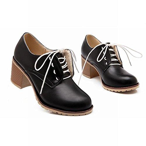 Carol Skor Avslappnad Kvinna Mode Spets-up Komfort Enkla Medel Chunky Häl Oxfords Skor Svarta