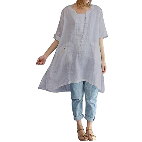 Sameno Women Solid Plus Size Irregular Loose Linen Short Sleeved Shirt Vintage Blouse with Pocket (XL, Gray) (Cowl Asymmetrical Neck)