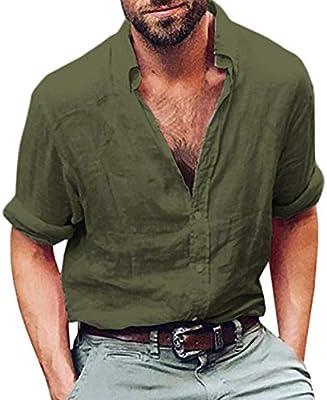 WWricotta LuckyGirls Camisa para Hombre Negocio Camisetas de Manga Larga Originales Lino Algodón Caballero Streetwear Casual Slim Fit Camisas Formales: Amazon.es: Deportes y aire libre