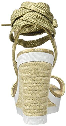 Mujer Gold con Klein Eleanor Sandalias Smooth Nappa Dorado Jacq Metallic Calvin Plataforma para Jeans RPqwwO