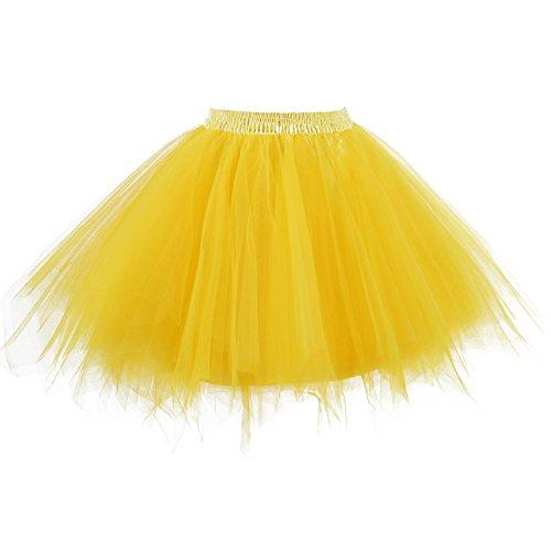 Dresstore Women's Short Vintage Petticoat Skirt Ballet Bubble Tutu Multi-colored Gold S/M -