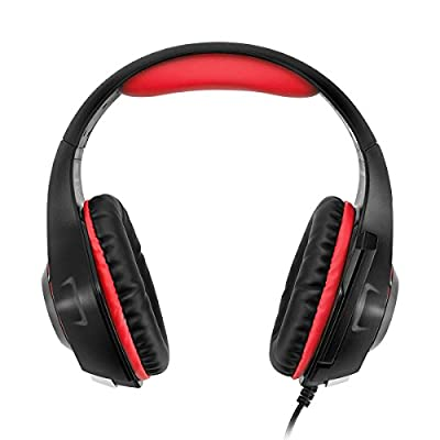 Gaming Headset, GM-1 Bass Enhanced Headphone for Playstation PS4 PSP Xbox One Tablet iPhone iMac iPad Samsung Smartphone, with Adapter Cable for PC with Voice Video Chat Microphone - Black Red